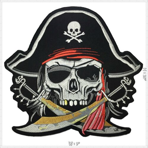 Skull Pirate horror Biker Motorcycle Iron on Embroidered Large Back patch XL