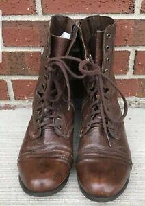 outlet online shop unique design Steve Madden Troopa Brown Leather Combat Boots Size 11 M. Left ...