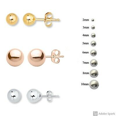 3.0mm-10mm Yellow and White Gold R/&R 14k Gold Ball Stud Earrings with Push Backs in Rose