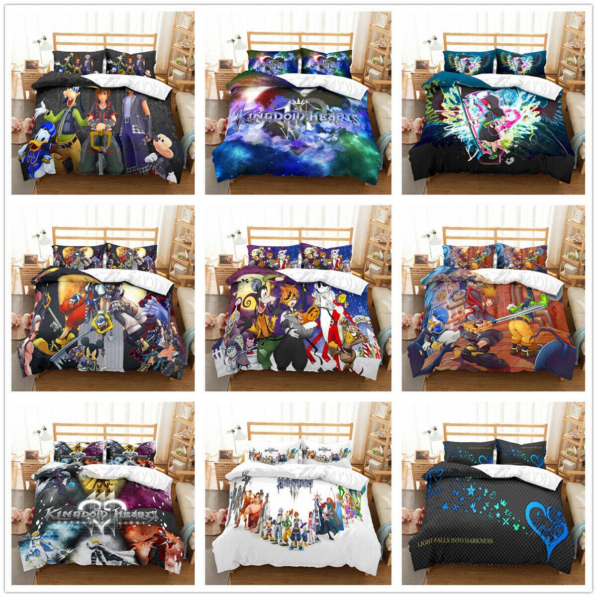 3D Kingdom Hearts Anime Duvet Cover Bedding Set Quilt Comforter Cover Pillowcase