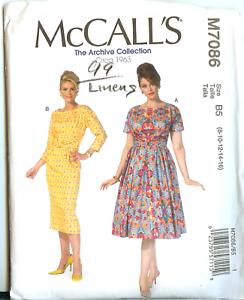 Vintage-Retro-60s-McCalls-Sewing-Pattern-7086-Misses-Dress-Size-8-to-16