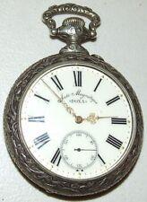 """Antique Working 1906 Huge DOXA Swiss Pocket Watch w/ Fancy """"Rugby"""" Repousse Case"""