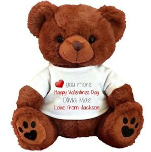 "PERSONALISED BROWN TEDDY BEAR 25CM/10"" SITTING VALENTINES DAY ANNIVERSARY"