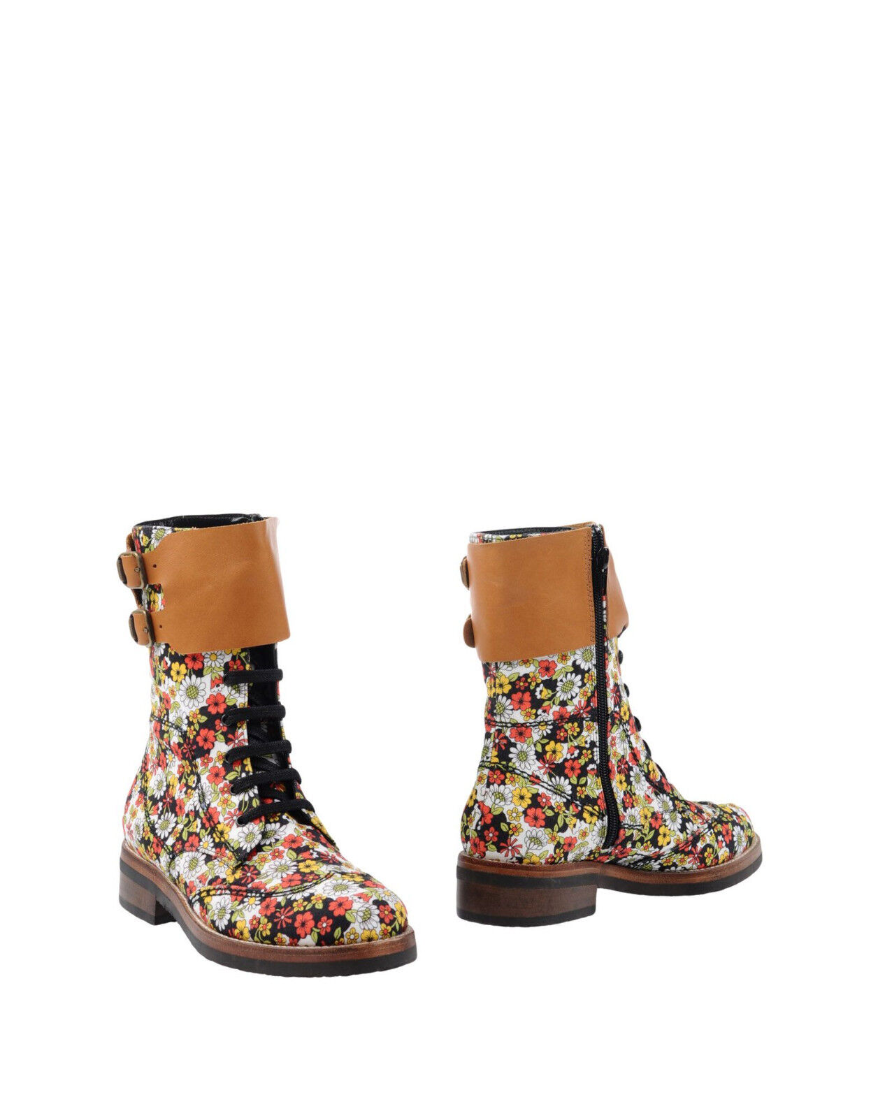 NEW MANOUSH FLORAL CANVAS & LEATHER WOMENS LUXURY ANKLE BOOTS EU 37 UK 3.5 4