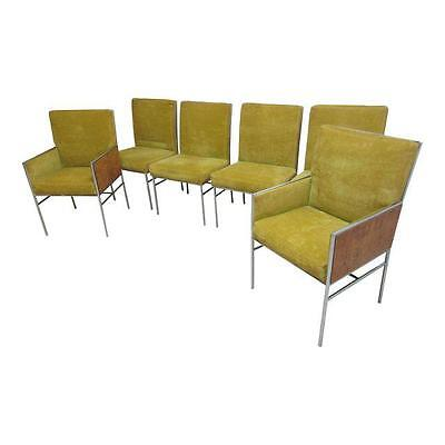 6 THE BEST Rare Milo Baughman Thayer Coggin chrome burl wood dining room chairs