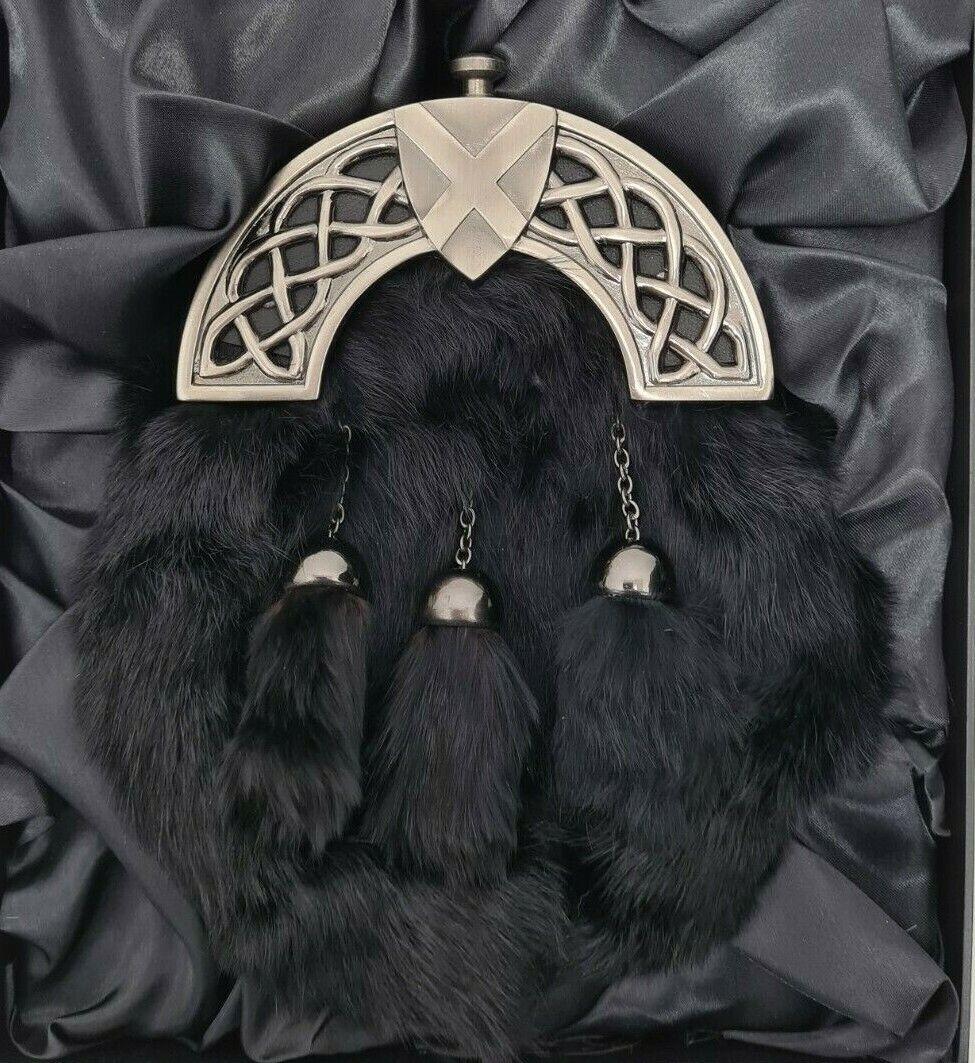 Antique Celtic Shield Saltire Cantle Black Rabbit Kilt Sporran & Chains Boxed