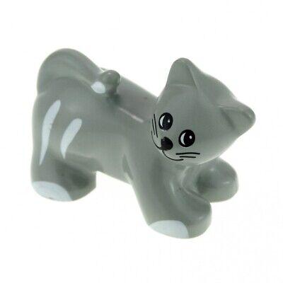 1 X Lego Duplo Animal Cat B-Stock Worn Alt-Hell Grey White Hangover Farm Zo