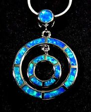 Silver 925 Filled Pendant & Necklace Blue Lab Fire Opal DOUBLE CIRCLE  1 1/4""