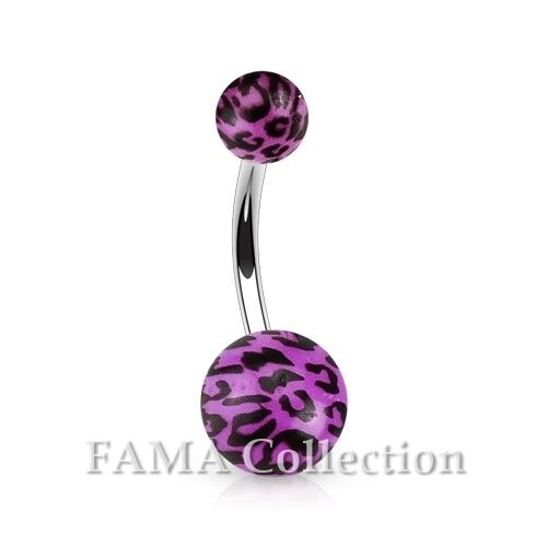 FAMA Leopard Print Acrylic Balls 316L Surgical Steel Navel Belly Ring