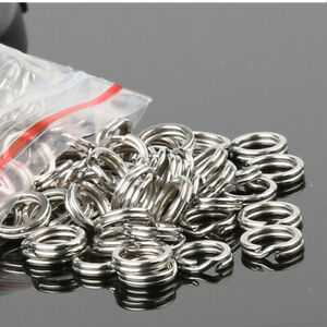 Lot-100x-Fishing-Flat-Stainless-Steel-Split-Ring-For-Lures-Hooks-Fishing-tackle