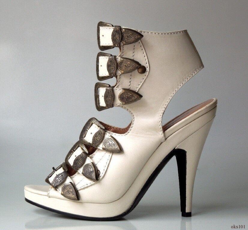 ny  595 SIGERSON MORRISON off -vit läder BUCK Lead Lead Lead remmar klackar skor 7  upp till 60% rabatt
