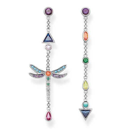 Genuine THOMAS SABO Colourful Mismatched Dragonfly Earrings TH2033