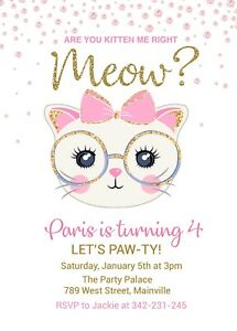 8 X PURRFECT PARTY INVITATIONS BIRTHDAY CAT KITTEN PINK INVITES WITH ENVELOPES