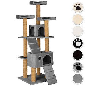 Arbre à chat griffoir grattoir jouet geant 2 grottes 169cm pour chats