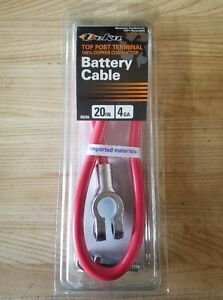 """20"""" RED CABLE DEKA 4 GAUGE (NO AUXILIARY LEAD) TOP POST BATTERY CABLE POSITIVE"""