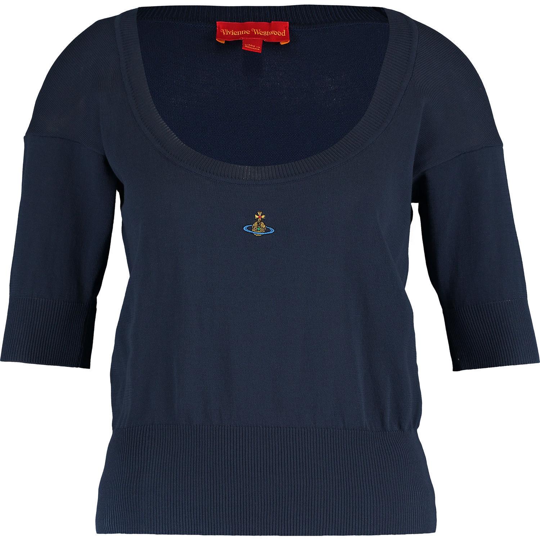 Genuine VIVIENNE WESTWOOD Navy Scoop Neck Short Sleeve Top, sz S M