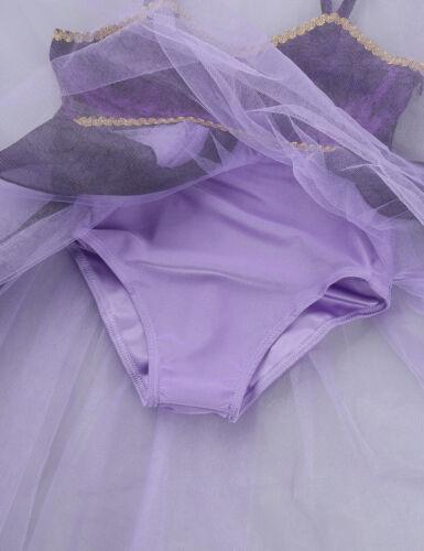 Girls Ballet Dance Lyrical Costume Mesh Dress Contemporary Colorful Tutu Skirt