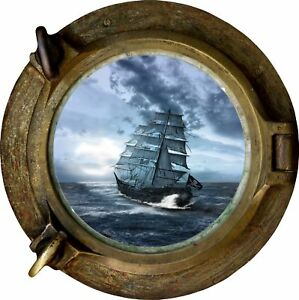 Huge-3D-Porthole-Fantasy-Pirate-Ship-View-Wall-Stickers-Film-Decal-500