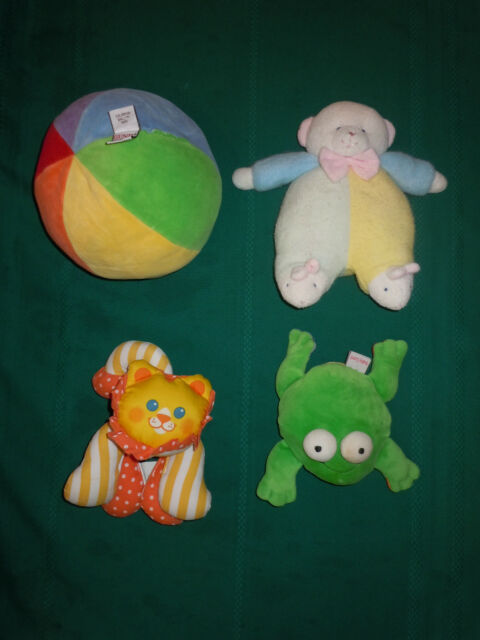 4 Plush Baby Rattles Crib Toys Doll Ball Lion Frog Gund Adorable Multi color EUC