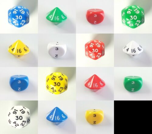Opaque Poly D3 D16 D30 Die Dice Set 3 16 30 Sided RPG White Green Red Blue RPG