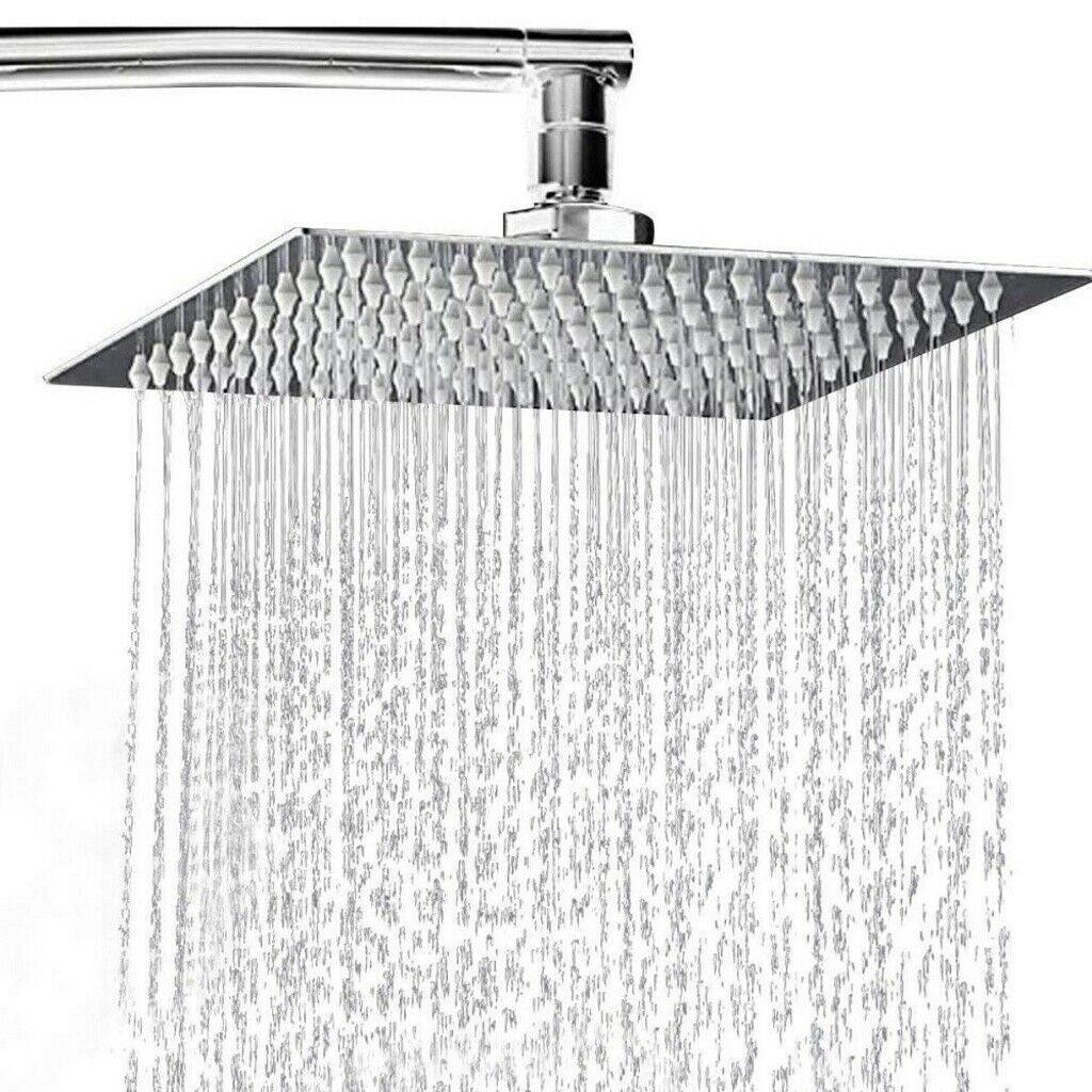 Details About Ultra Thin Square Round Shower Head Stainless Steel Rainfall Overhead 8 10 12