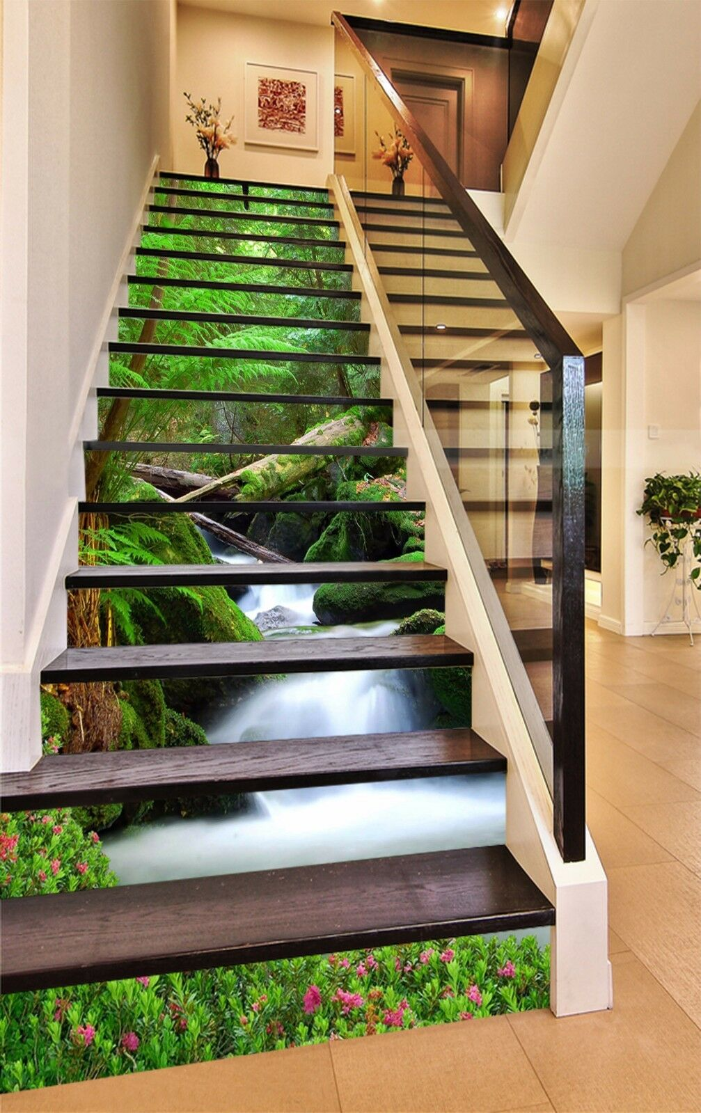 3D Green Trees 7025 Stair Risers Decoration Photo Mural Vinyl Decal Wallpaper AU