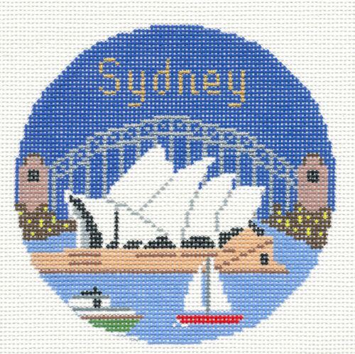 "AUSTRALIA handpainted 4.25/"" Needlepoint Canvas Ornament by Silver Needle SYDNEY"