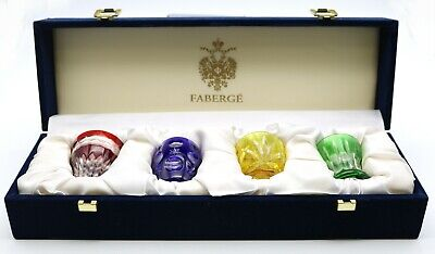 Spectacular Faberge Colorful Crystal Shot Glasses Art Glass With Original Box Ebay