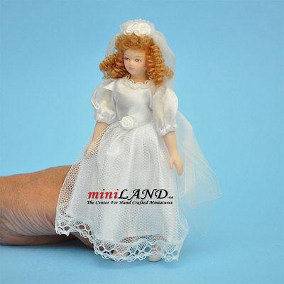 "LADY IN PINK BATHROBE PORCELAIN DOLL 5.5/""H dollhouse miniature 1:12 scale"