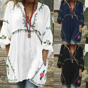 ZANZEA-Women-Bohemian-Deep-V-Long-Shirt-Dress-Blouse-Tops-Shirt-Print-Mini-Dress