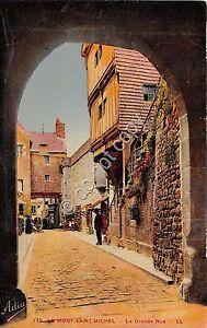 Cartolina-Postcard-Illustrata-Mont-St-Michel-Grand-Rue-anni-039-30