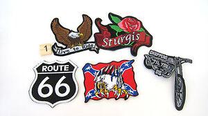 New-Route-Rt-66-Biker-Patches-Lot-5-Chopper-Flag-Eagle-Sturgis-Patriotic-Patch