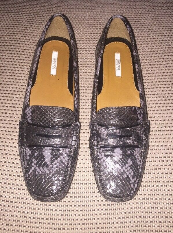 GEOX RESPIRA PYTHON PRINT DARK DARK DARK GREY LEATHER LOAFERS Schuhe UK5 EU37 US7 : 995497