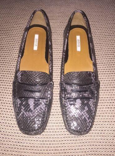 Print Us7 Grey Eu37 Uk5 Python £110 Dark Respira Shoes Rrp Leather Geox Loafers OaCq6xEO
