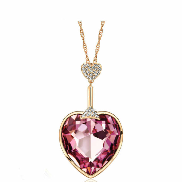 7c1bc7f71f3fa Pink Heart Long Rose Gold Plated Chain Pendant Necklace With Swarovski  Crystal