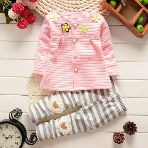 New Kids clothing set baby girls clothes flower t-shirt+striped pants 2pcs suit
