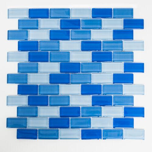 Mosaikmatte Mosaikfliesen Mosaik Brick Crystal mix hellblau 322 x 310 mm XCMB822