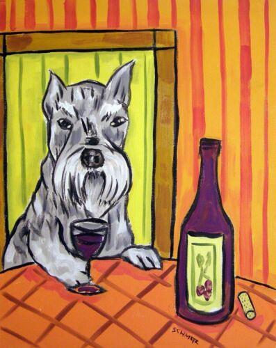 Schnauzer at the wine bar  animal dog art Mug 11 oz