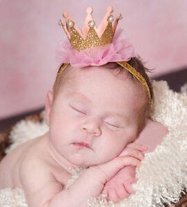 Bandeau-Mignon-clip-Baby-Girls-Crown-Princess-Hair-Or-Glitter-Lace-Perles