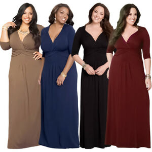 236d90f094723 Plus Size Women Ruched V-neck Evening Dress Lady Long Maxi Party ...