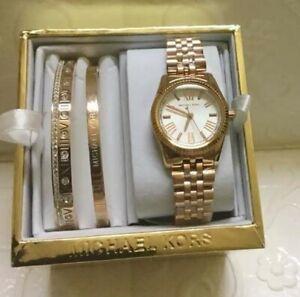 Michael Kors Mini Lexington  Rosegold-tone Watch and Bangle Set