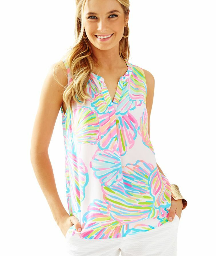 Neuf avec étiquettes Lilly Pulitzer Resort Weiß shellabrate sans manches Stacey Top, Sz S,  128