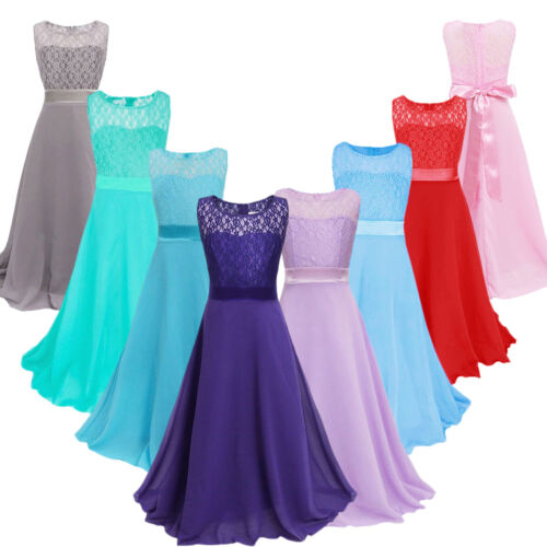 Lace Chiffon Kids Long Dresses Flower Girl Dress Gown for Wedding Princess Party