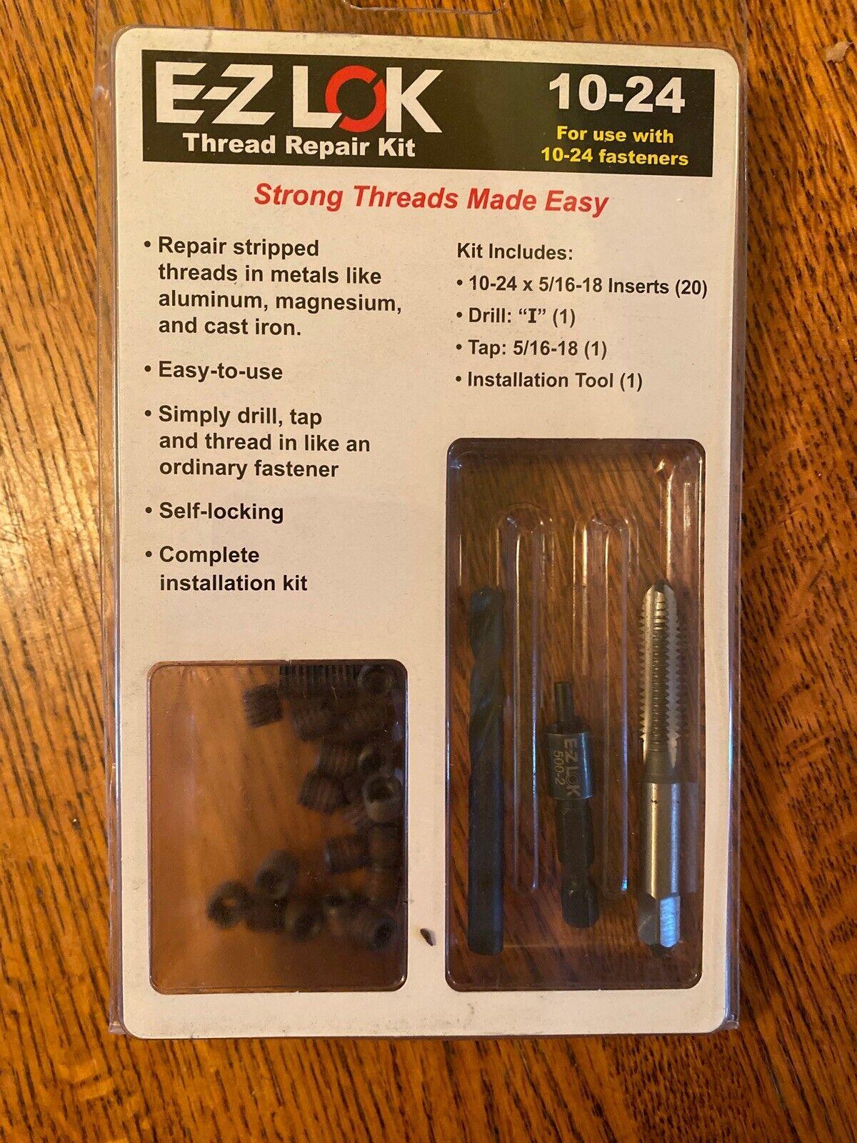 Black Oxide E-Z LOK EZ-329-3 Threaded Inserts for Metal 10-24 Installation Kit Steel