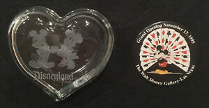 DISNEYLAND HEART CLEAR GLASS TRINKET BOX MICKEY & MINNIE MOUSE & 1995 DISNEY PIN
