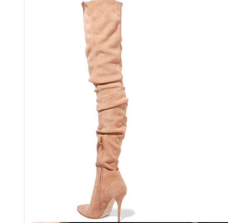 Damen Stiefel Overknee Pumps Langschaft Stiletto Faux-Wildleder mit Raffdetail