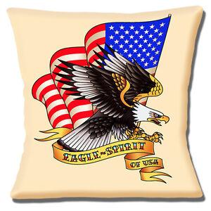 NUEVO-039-Sailor-Jerry-039-Tattoo-Artist-039-EAGLE-SPIRIT-OF-USA-039-40-6cm-Funda-De-Cojin