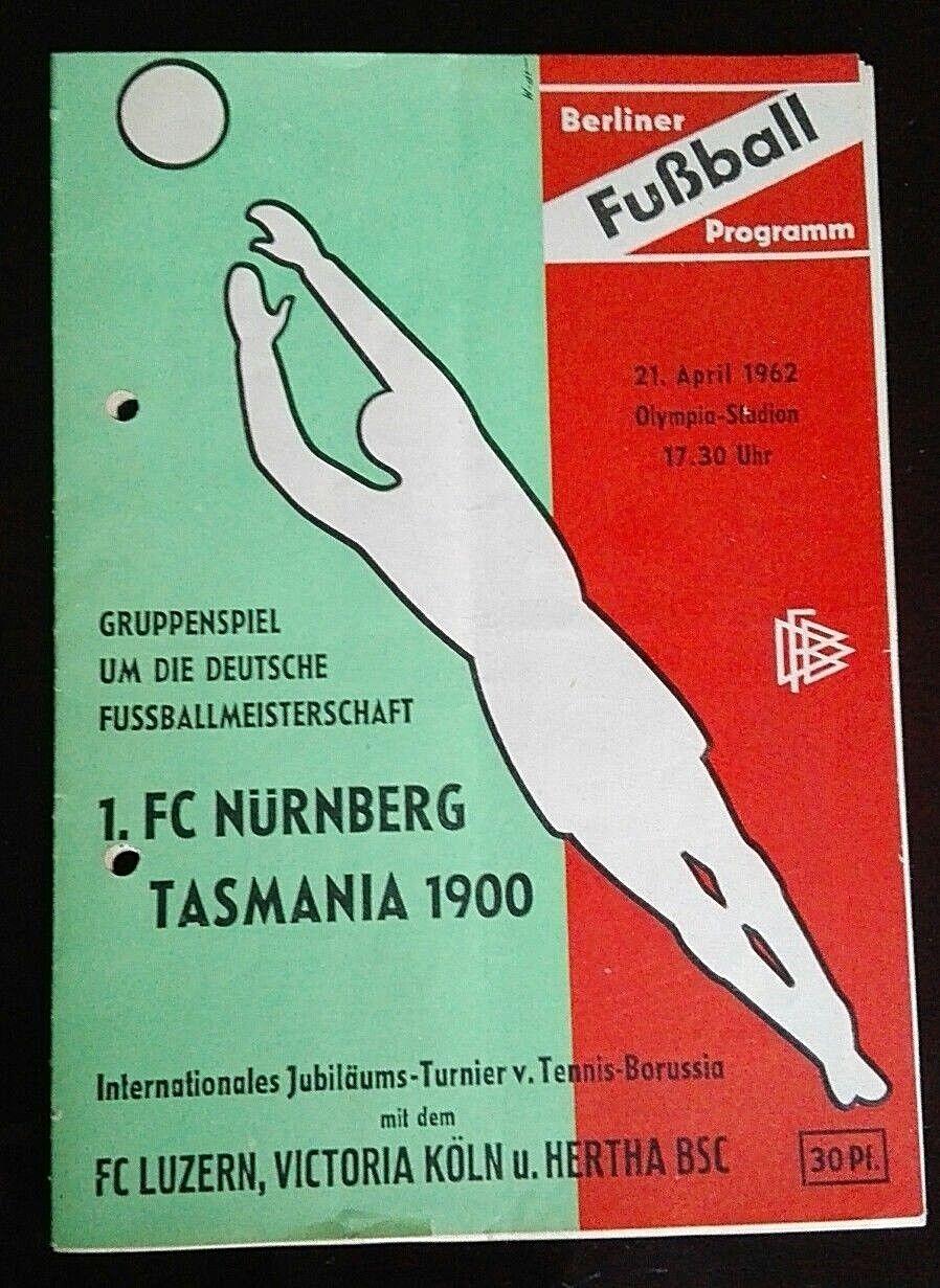 Programm 21.4.1962 Tasmania Berlin 1.FC Nürnberg Meisterschaft FCN Stadionheft