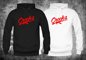 Crooks-and-Castles-Band-Red-Logo-Black-White-Hoodies-Size-XS-XL