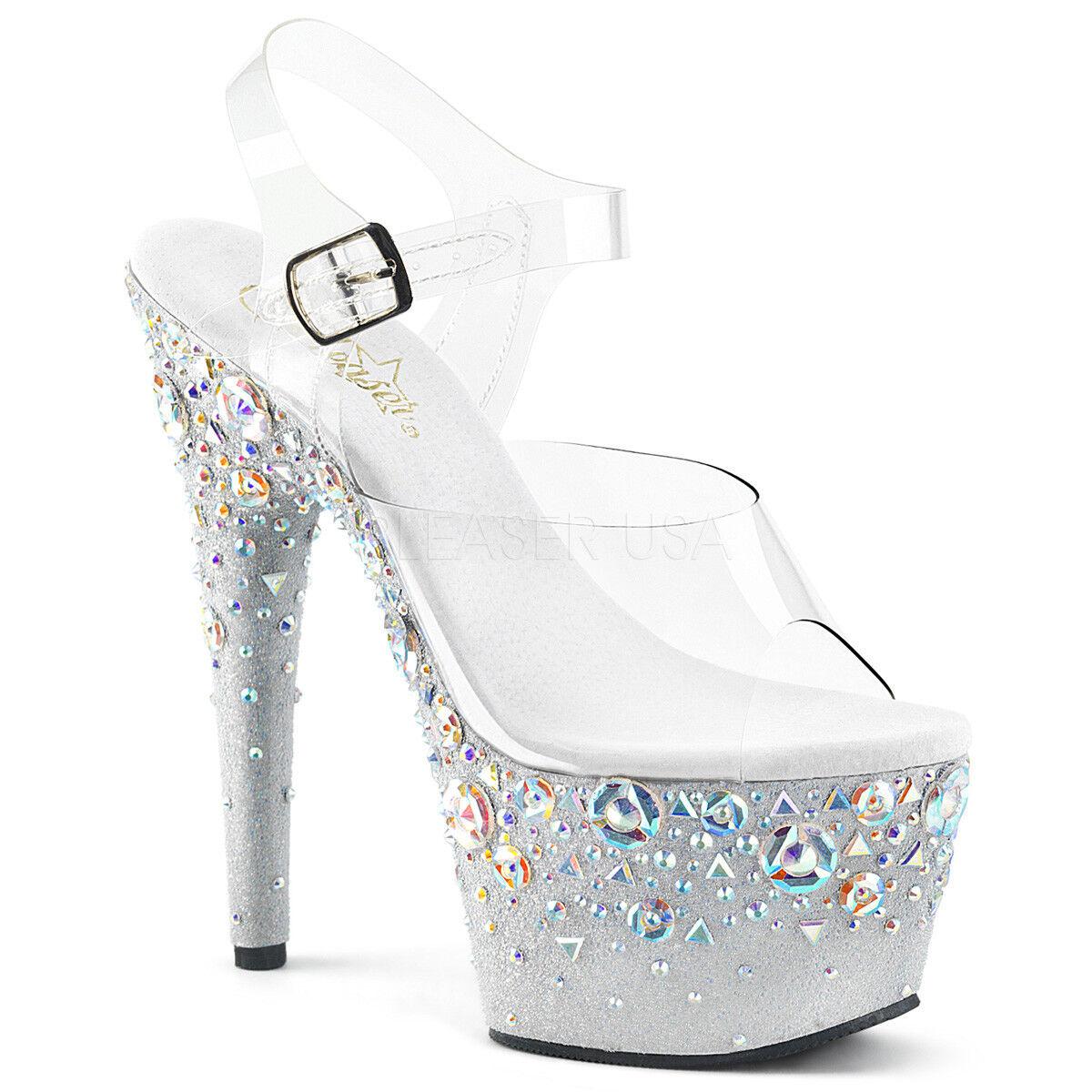 7 Pulgadas  Pulgadas 7 Negra Transparente Plataforma Tacones Stripper Pleaser zapatos Diamantes de Imitación Flores fe052c